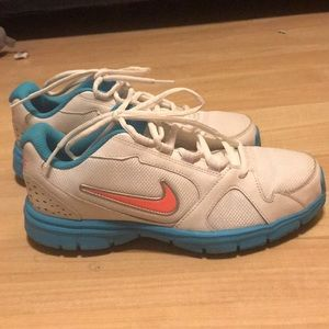 Ladies turquoise and white Nike shoes size 6.5 Y